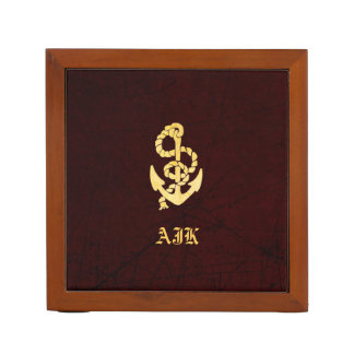 Vintage Anchor on Scratched Leather Nautical Look Desk Organisers
