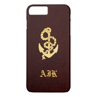 Vintage Anchor on Scratched Leather Nautical Look iPhone 7 Plus Case
