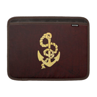 Vintage Anchor on Scratched Leather Nautical Look MacBook Sleeves