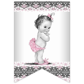 Vintage and Pink Gray Girl Baby Shower Bunting