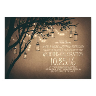 Vintage and Rustic Mason Jar String Lights Wedding Card