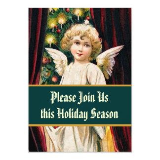 Vintage Angel Christmas Tree Dinner 13 Cm X 18 Cm Invitation Card