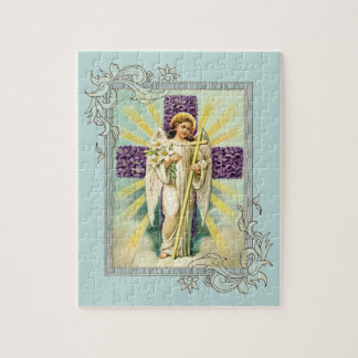 Vintage Angel With Purple Cross Jigsaw Puzzle