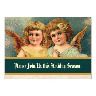 Vintage Angels Christmas Tree Dinner 13 Cm X 18 Cm Invitation Card