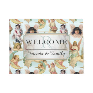 Vintage Angels in Clouds Collage Welcome Monogram Doormat