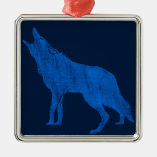 Vintage Animals Blue Howling Coyote Silver-Colored Square Decoration