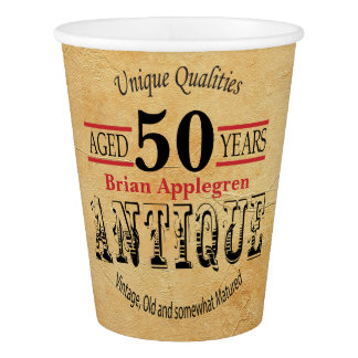 Vintage, Antique and 50th Birthday Design Paper Cup