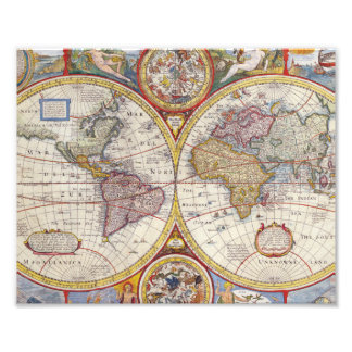 Vintage Antique Old World Map cartography Photo Print