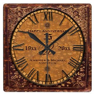 Vintage Antique Wedding Anniversary Square Wall Clock