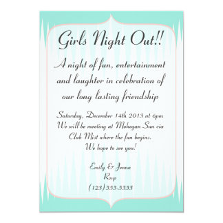 Vintage Aqua Green Spikes Girls Night Out Card