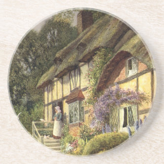 Vintage Architecture, Country Cottage House Beverage Coaster