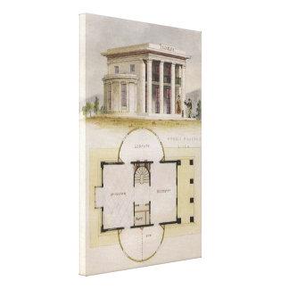 Vintage Architecture, Floor Plan and Greek Villa Canvas Print