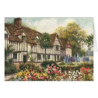 Vintage Architecture Formal Garden English Cottage Greeting Card