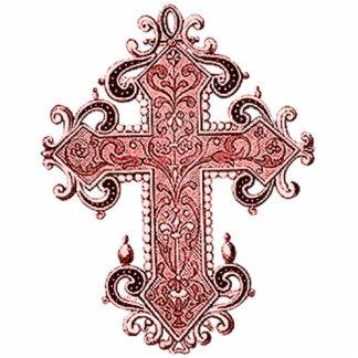Vintage Art Burgundy Cross Photo Sculpture Magnet