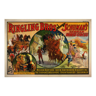 Vintage art circus poster reproduction