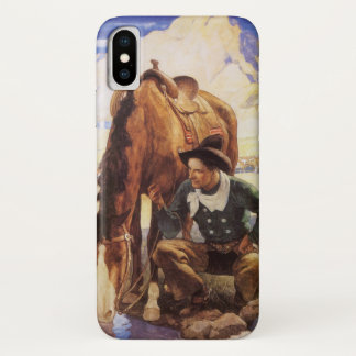 Vintage Art, Cowboy Watering His Horse by NC Wyeth iPhone X Case