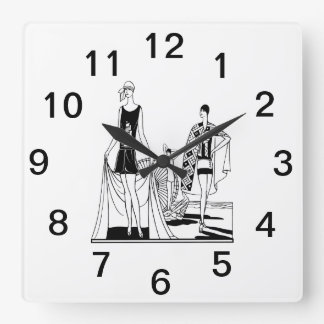 Vintage Art Deco Fashionable Ladies at the Beach Square Wall Clock