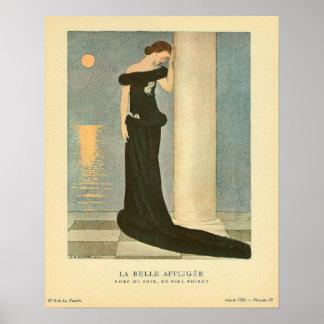 Vintage Art Deco Illustration La Belle Affligee Print