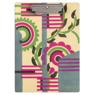 Vintage Art Deco Jazz Pochoir Geometric Pattern Clipboard