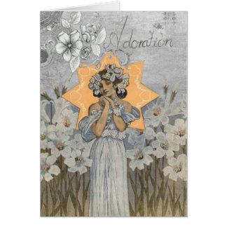 Vintage Art Deco Lady Floral Greeting Card