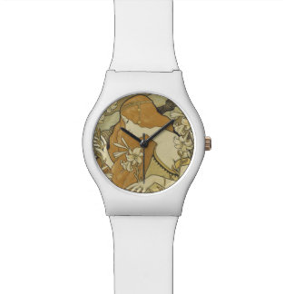 Vintage Art Deco Lady Golden Hair Flowers Watches