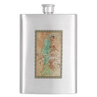 Vintage Art Deco Lady Green Golden Tree Hip Flask