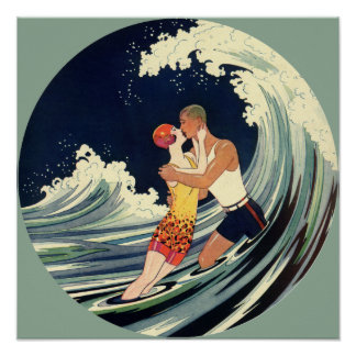 Vintage Art Deco Lovers Kiss in the Waves at Beach Poster