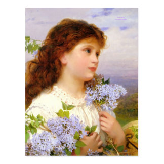 Vintage Art Girl with Lilacs 1875 Postcards