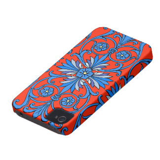 Vintage art nouveau in shades of blue iPhone 4 cases