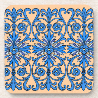 Vintage art nouveau in shades of blue coaster
