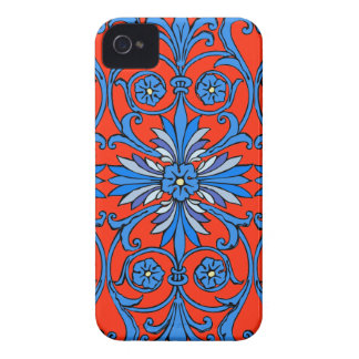 Vintage art nouveau in shades of blue iPhone 4 case