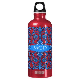 Vintage art nouveau in shades of blue monogram SIGG traveler 0.6L water bottle