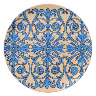Vintage art nouveau in shades of blue plates