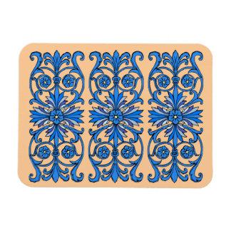 Vintage art nouveau in shades of blue rectangular photo magnet