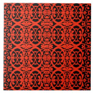 Vintage art nouveau in tangerine tango large square tile