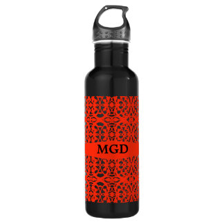 Vintage art nouveau in tangerine tango monogram 24oz water bottle