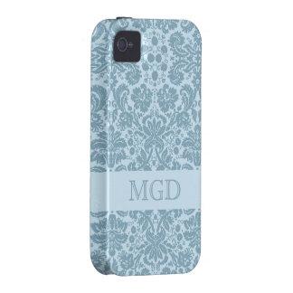 Vintage art nouveau turquoise floral monogram vibe iPhone 4 cover
