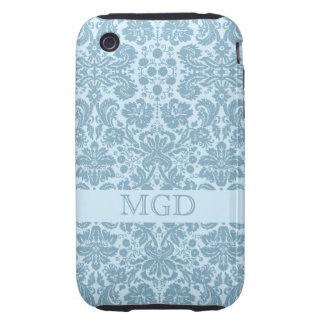 Vintage art nouveau turquoise floral monogram tough iPhone 3 cover