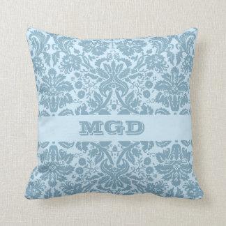 Vintage art nouveau turquoise floral monogram cushion