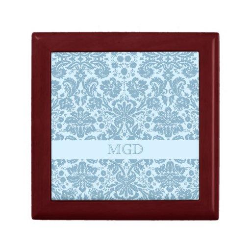 Vintage art nouveau turquoise floral monogram trinket box