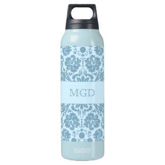 Vintage art nouveau turquoise floral monogram insulated water bottle
