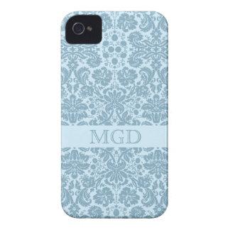 Vintage art nouveau turquoise floral monogram iPhone 4 case