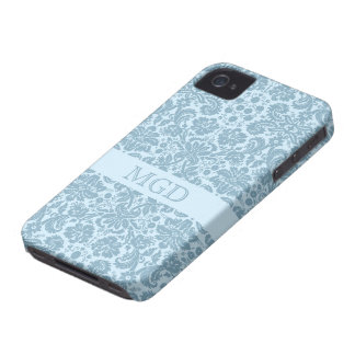 Vintage art nouveau turquoise floral monogram iPhone 4 cases