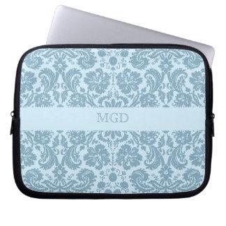 Vintage art nouveau turquoise floral monogram laptop sleeve