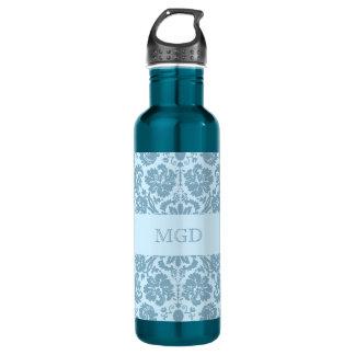 Vintage art nouveau turquoise floral monogram 24oz water bottle