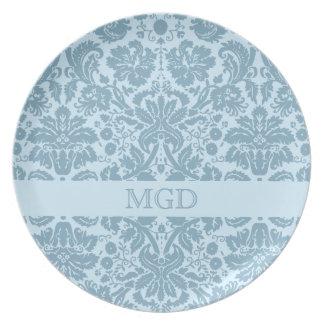 Vintage art nouveau turquoise floral monogram plate