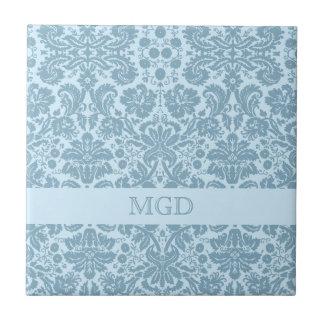 Vintage art nouveau turquoise floral monogram tile