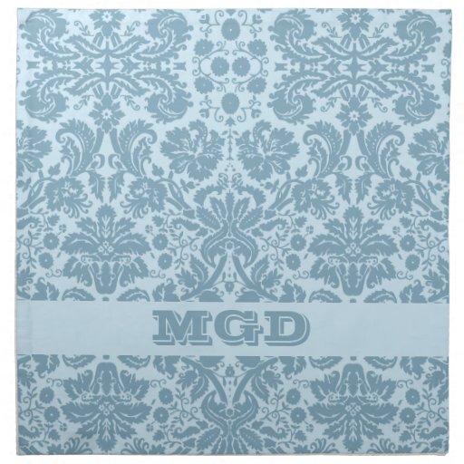 Vintage art nouveau turquoise floral printed napkins