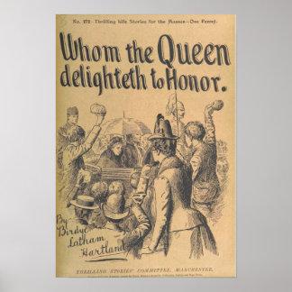 "Vintage Art Poster ""Whom the Queen Delighteth..."""
