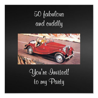 Vintage Auto 50 Fabulous and cuddly birthday Party 13 Cm X 13 Cm Square Invitation Card